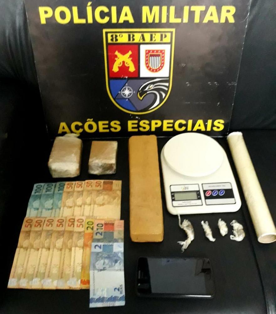 Itens foram apreendidos na Vila Tibiriçá, em Presidente Epitácio — Foto: Polícia Militar/Cedida